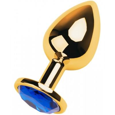 Анальная втулка Metal by TOYFA золотистая с кристаллом цвета сапфир 9,5 см 4 см 145 г