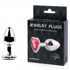 Анальная втулка SILVER PLUG SMALL с кристаллом в виде сердца рубинового цвета L 70 мм D 28 мм, вес 50 г