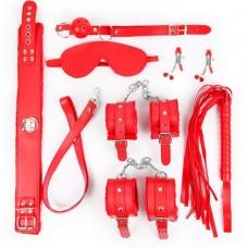 Набор БДСМ Notabu (маска, кляп, зажимы, плётка, ошейник, поводок, наручники, оковы) цвет красный
