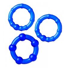 Набор из 3-х колец Штучки-дрючки силикон синий Ø 3,5/3/2 см