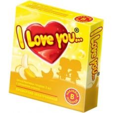 """Презервативы с ароматом банана """"I Love You"""", 3 шт"""