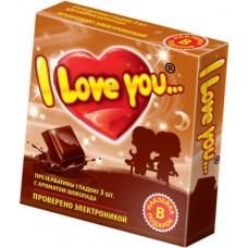 """Презервативы с ароматом шоколада """"I Love You"""", 3 шт"""